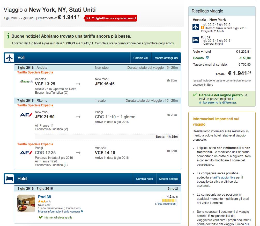expedia NY volo+hotel