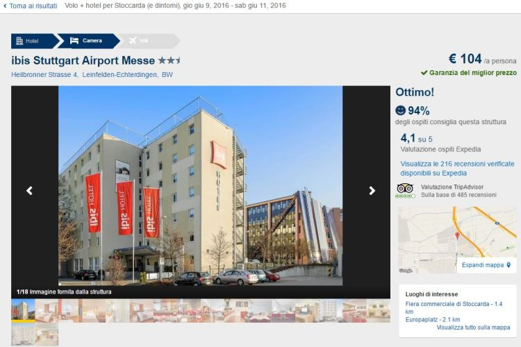 Volo Venezia-Stoccarda con 2 notti in ottimo hotel da 119